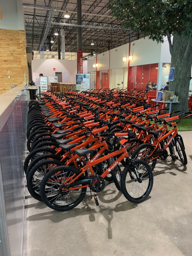 Variety bikes built by volunteers from HyVee ready to give to kids.