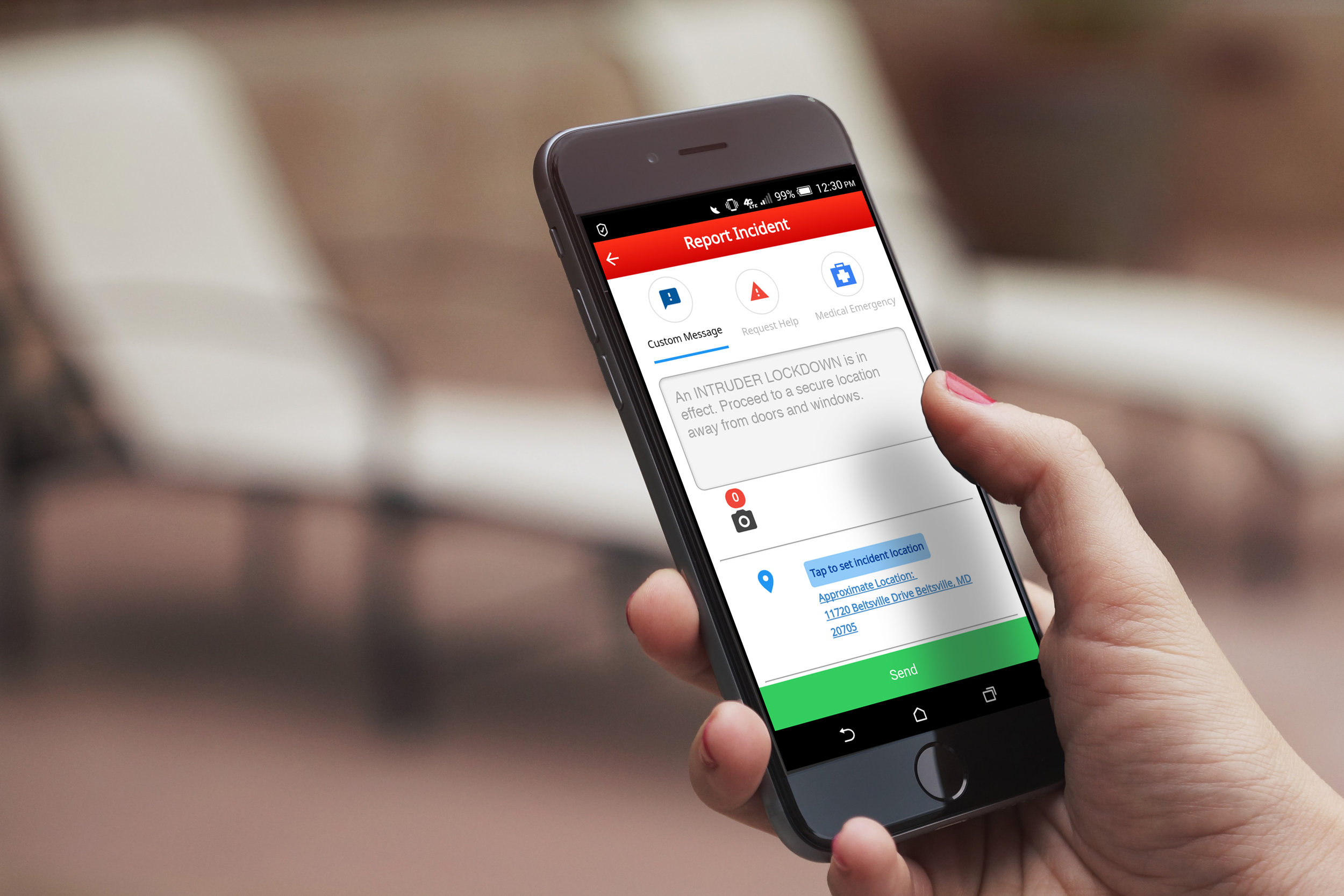 Alertus Recipient App can send geo-tagged incident reports to emergency management.