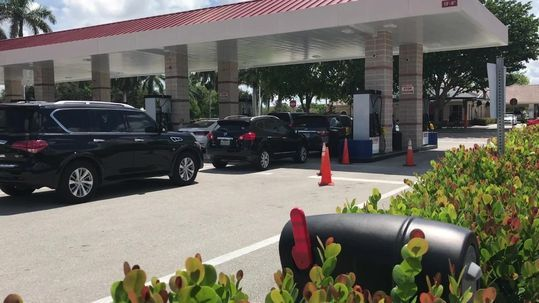 Long lines at gas stations are forming as Florida residents prepare for Hurricane Irma