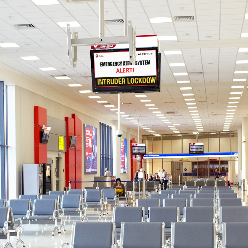 Alertus Technologies recognizes that airports face a unique set of challenges when trying to communicate with travelers, visitors, landside/airside airport employees, and contract workers during a disaster event.