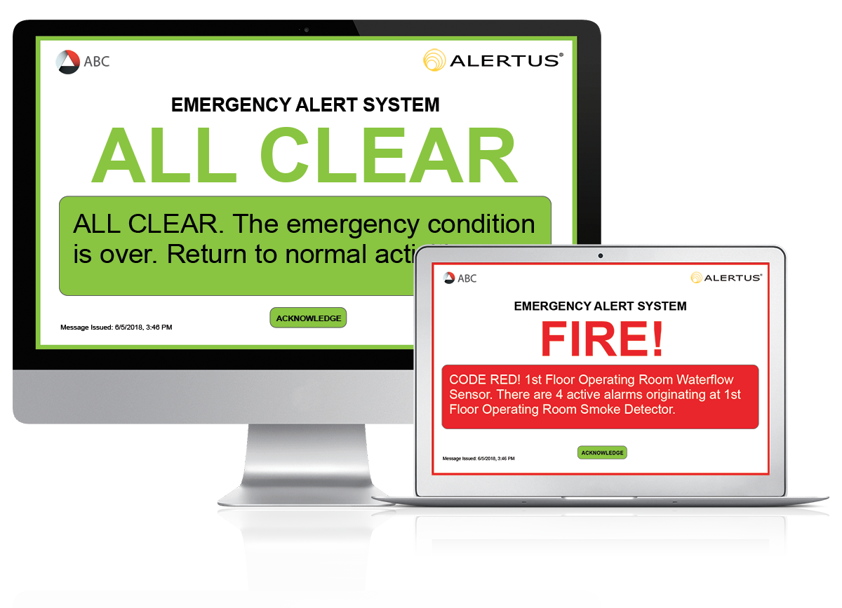 Alertus Desktop Notification   enables authorized dispatchers to reach all or select personnel using a full-screen pop-up message. This solution is particularly useful for organizations with limited access to or restricted cell phone policies.