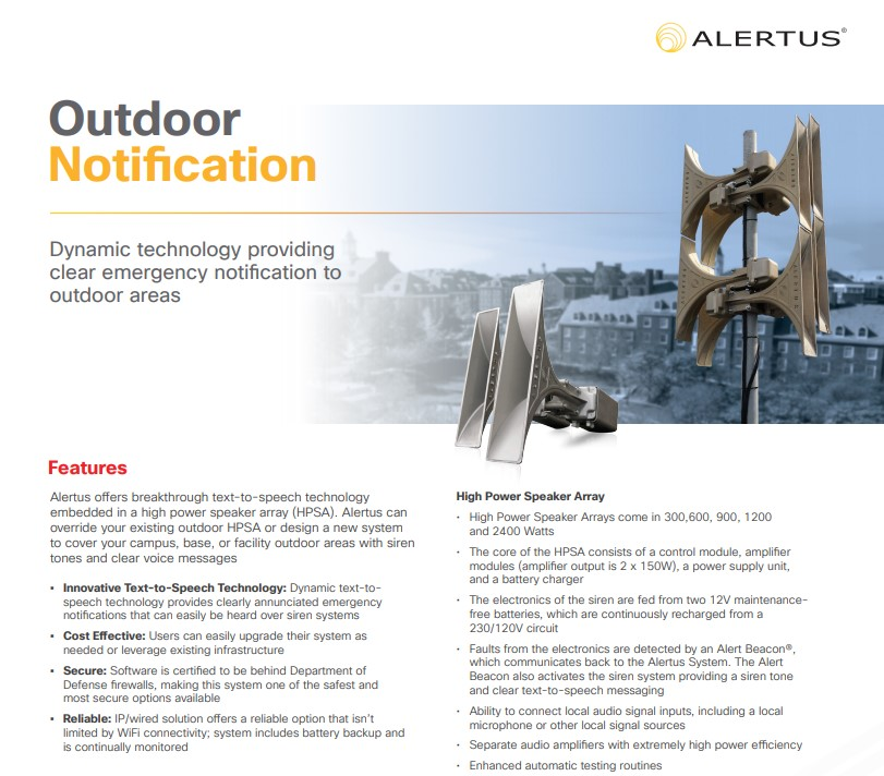 Outdoor Notification — Alertus Technologies