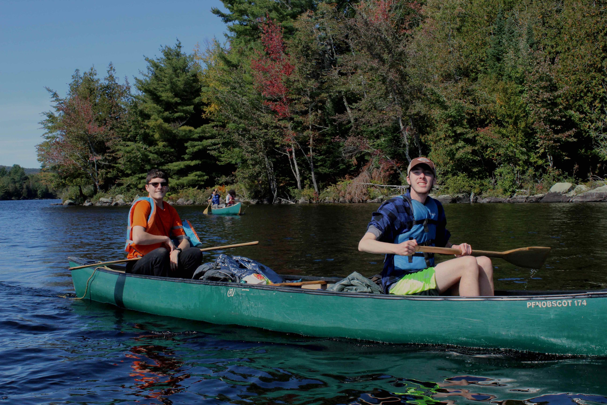 Dan and his canoe partner, John, back on the water after a big portage.