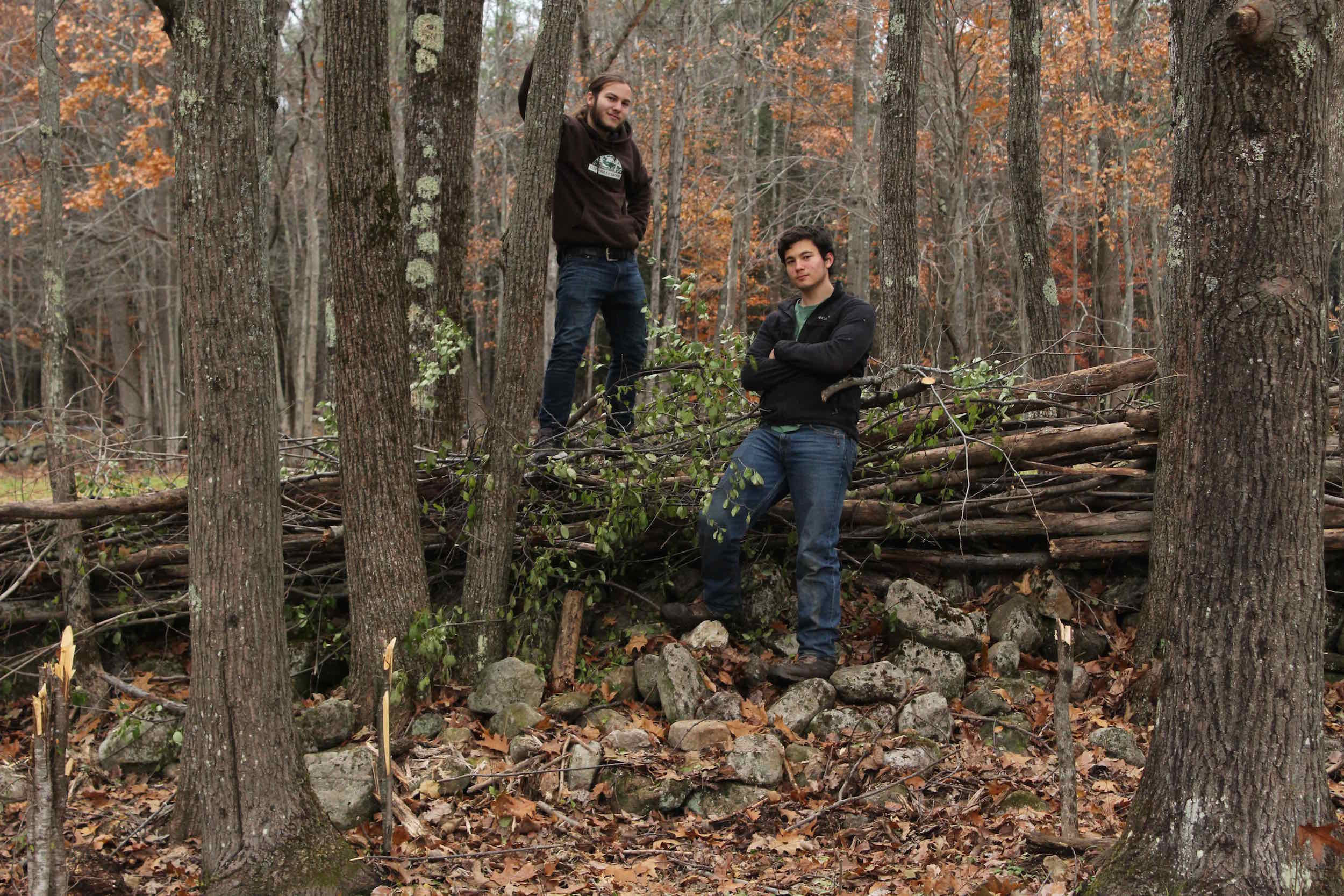 "Boah and Sam, two of the ""Fencing Four,"" and their brush fence they built from trees they felled by hand."