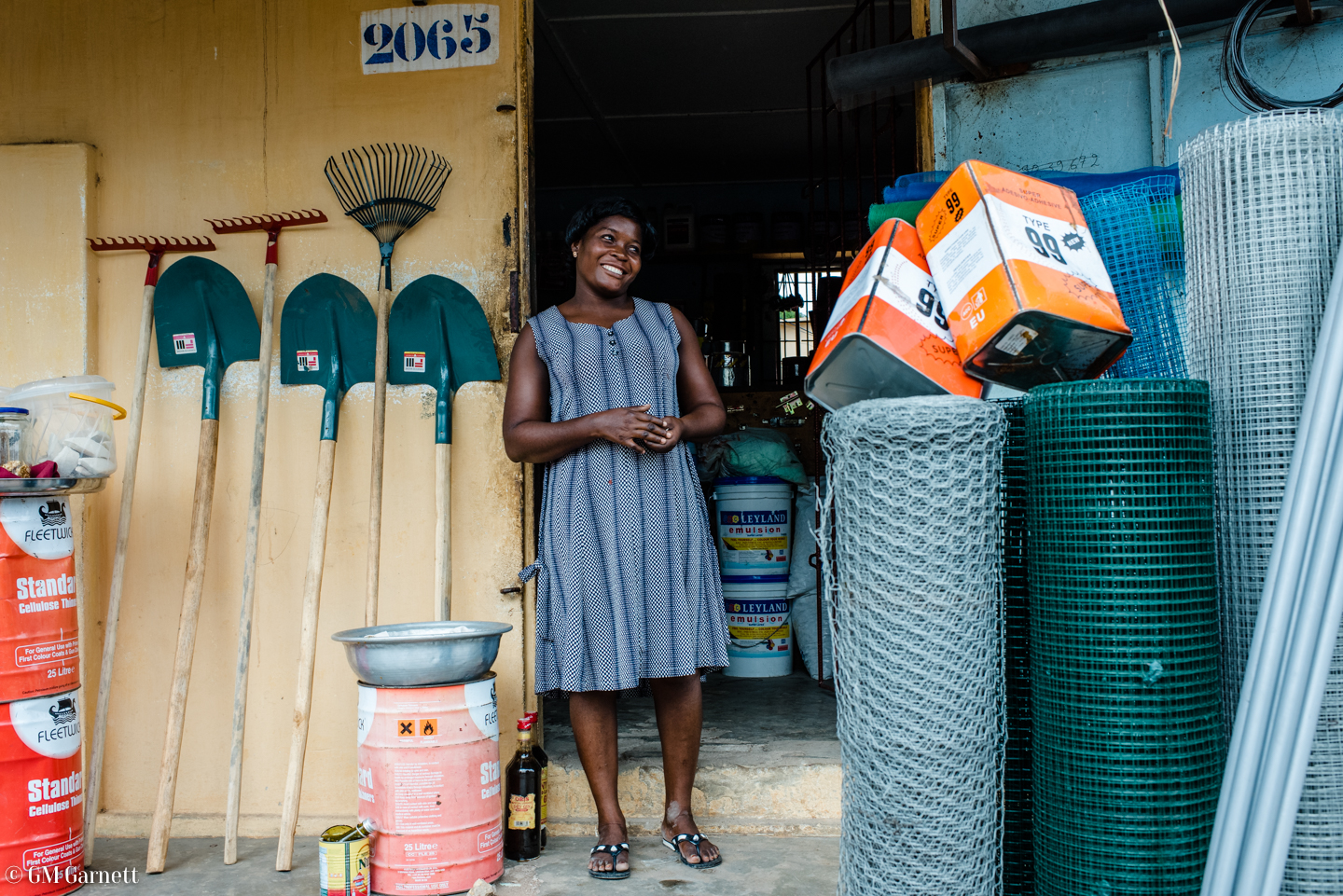 """""""I learn from [IADES]. The most recent session taught us the importance of using mosquito nets,"""" explains Chantal Sika. Chantal, hardware store owner attends social and business training sessions as a beneficiary of a loan from IADES (Deki's partner in Togo)."""