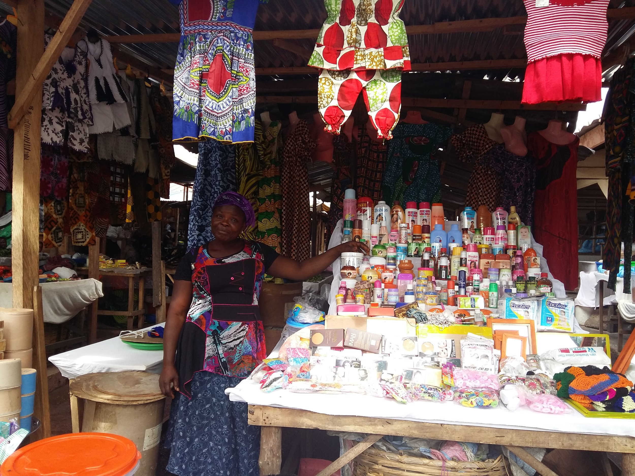 Adzo with her expanded market stall