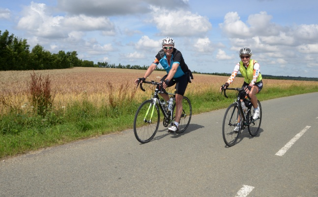 Cyclists on the London to Paris bike ride, 2018