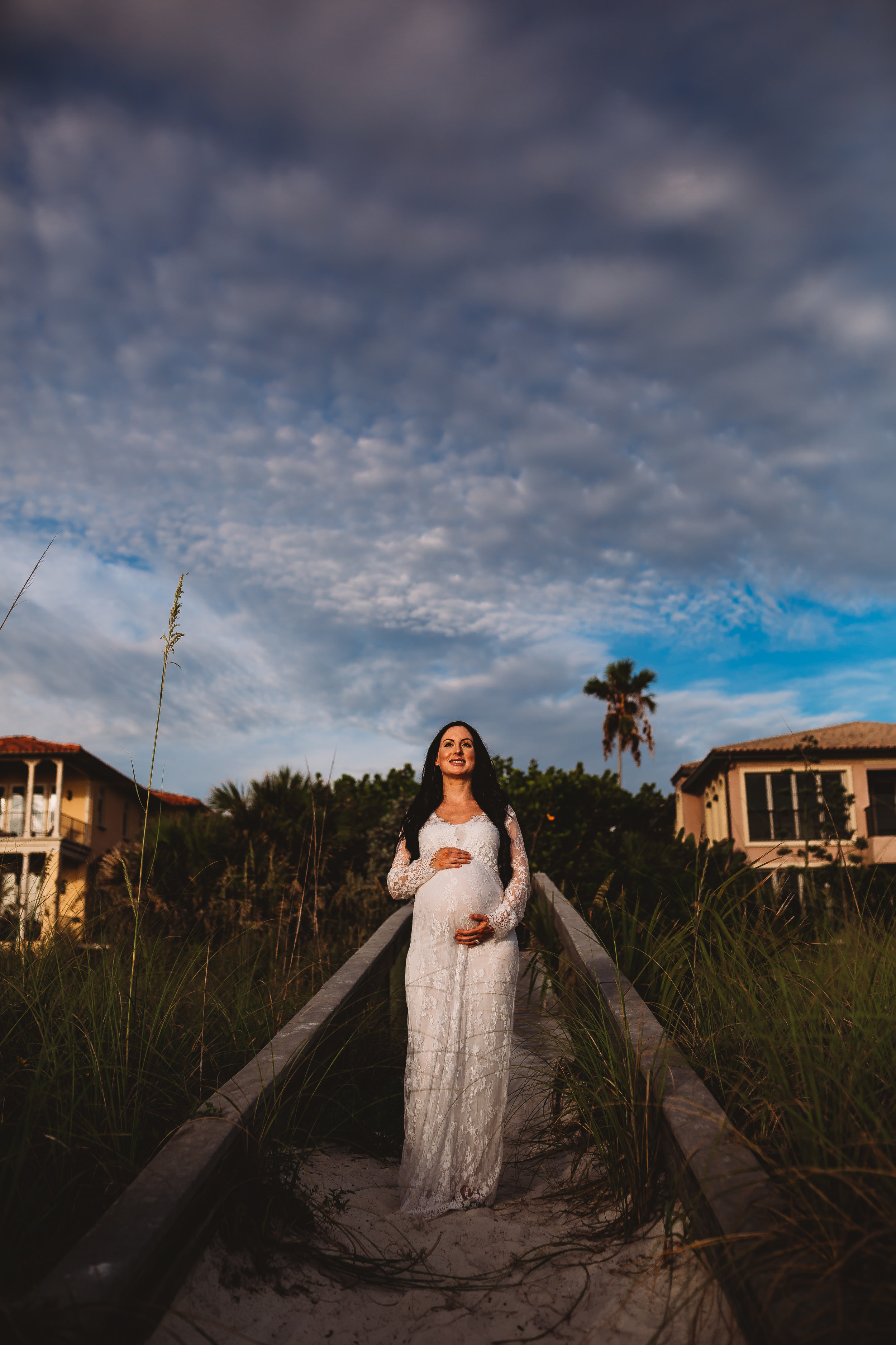 sunset maternity photo shoot on the beach, pinellas county