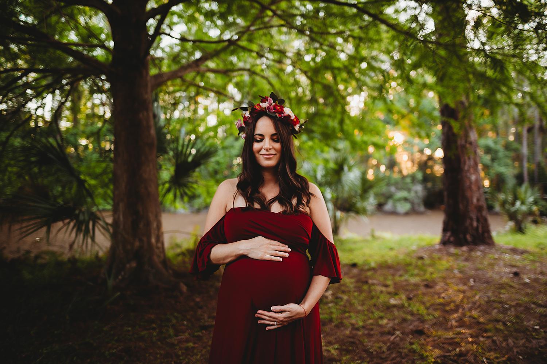 flower crown maternity portraits, boho maternity tampa
