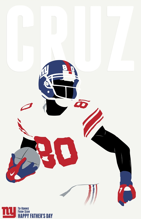 Victor Cruz New York Giants Pantone Poster