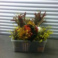 0104: Plastic Box of Imitation Plants/Flowers