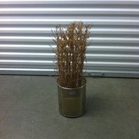 0108: Small Metal Trash Can with Potted Imitation Plant