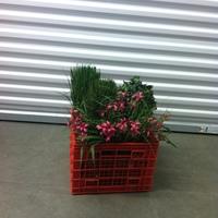 0111: Plastic Crate of Imitation Plants/Flowers