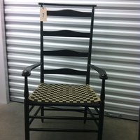 0117: Wood Chair with Tan & Black Checkered Seat
