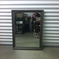 0126: Medium Sized Mirror with Painted Grey Wood Frame