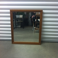 0127: Medium Sized Mirror with Wood Frame