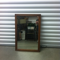 0130: Small Mirror with Wood Frame