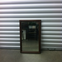 0131: Small Mirror with Wood Frame