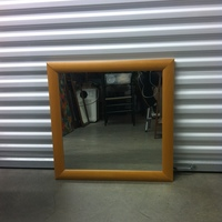0132: Medium Sized Mirror with Light Wood Frame