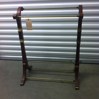 0139: Wood Shoe Rack with Brass/Gold Accents