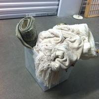 0167: Small Plastic Bin of Bath, Mat, Rug Pad, Linens
