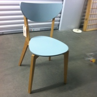 0168: Wood Chair with Blue Seat