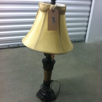 0177: Small Wood Lamp with Tan Shade