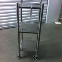 0179: Small Grey Metal Shelf on Wheels
