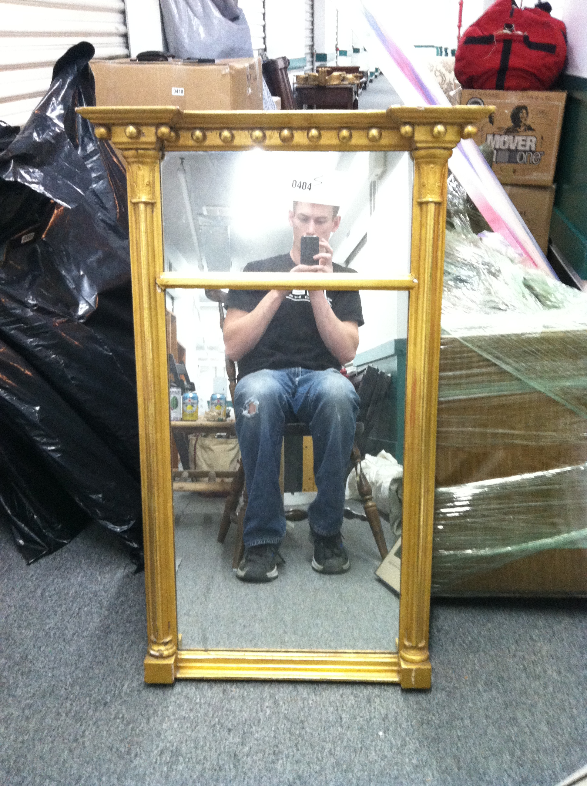 0404: Mirror with Painted Gold Trim