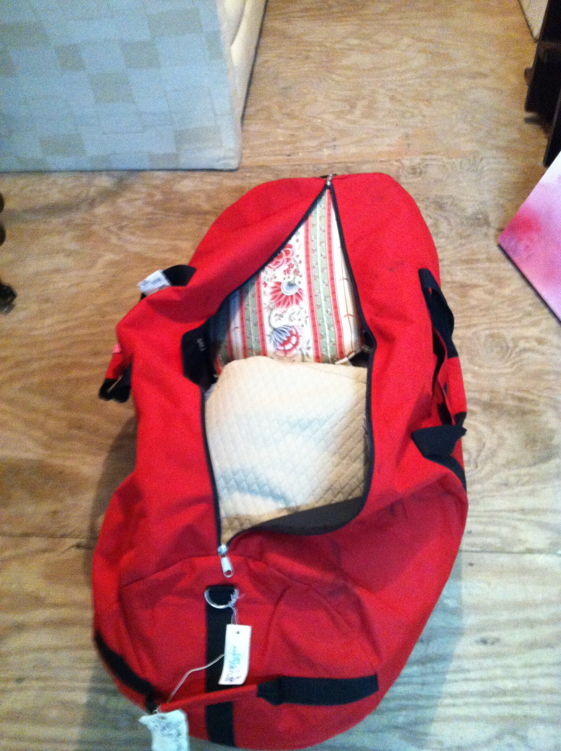 0413: Large Red Bag- Pillows and Blankets inside