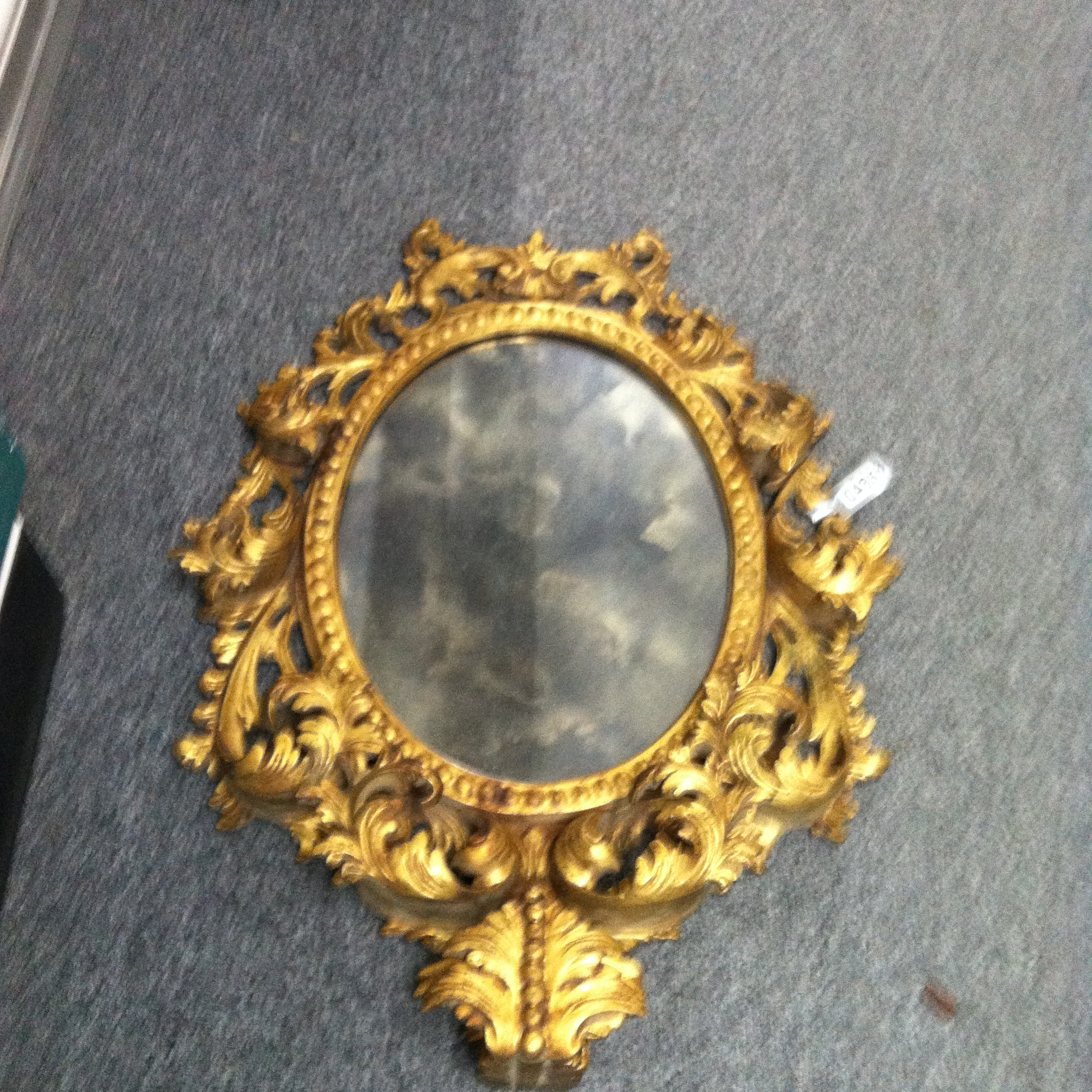 0433: Mirror with Ornate Wood Trim (Gold)