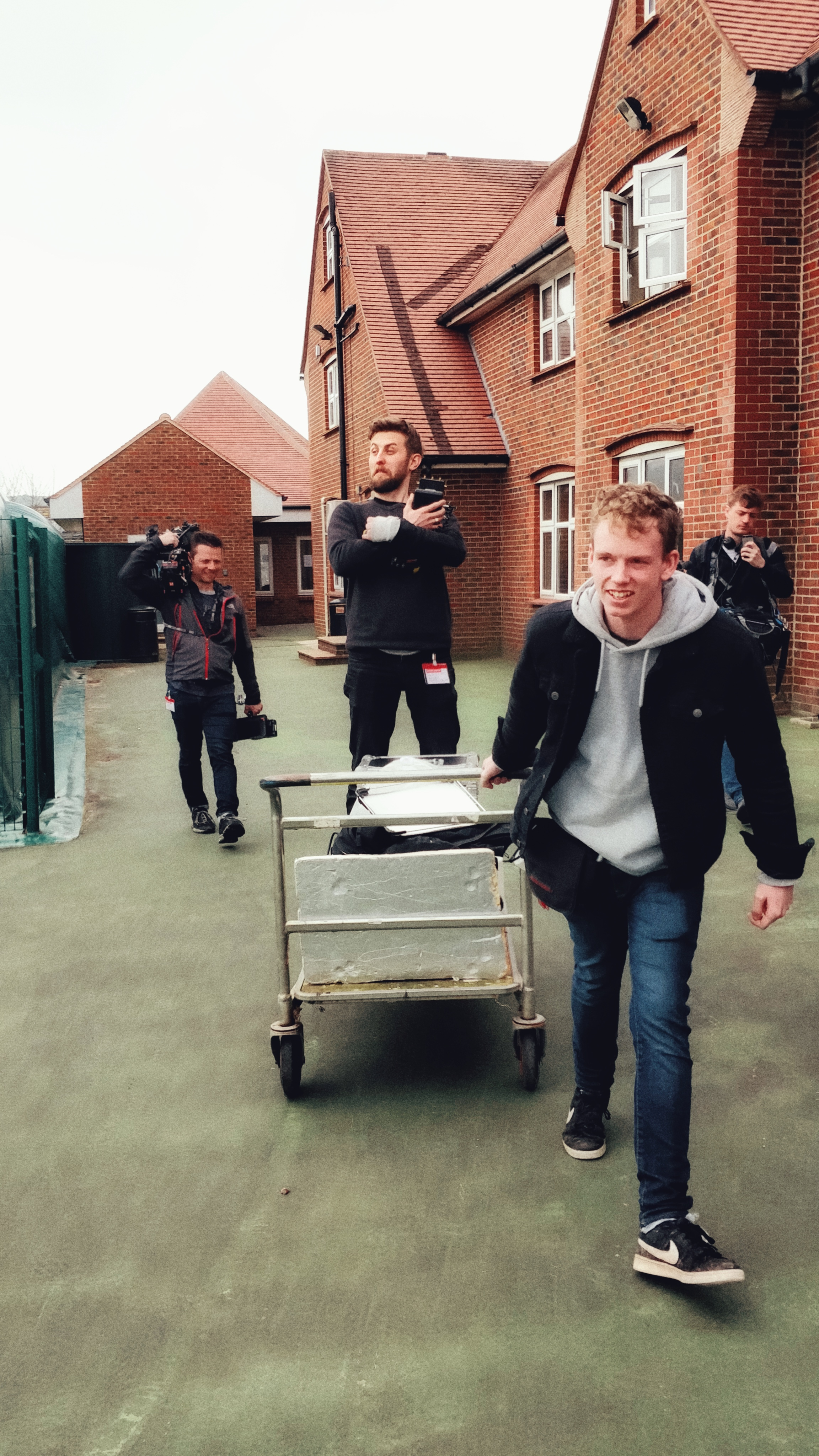Walking from location to location is tiring…. Director Danny prefers to travel by trolley. Shout out to Chief Puller, Rhys