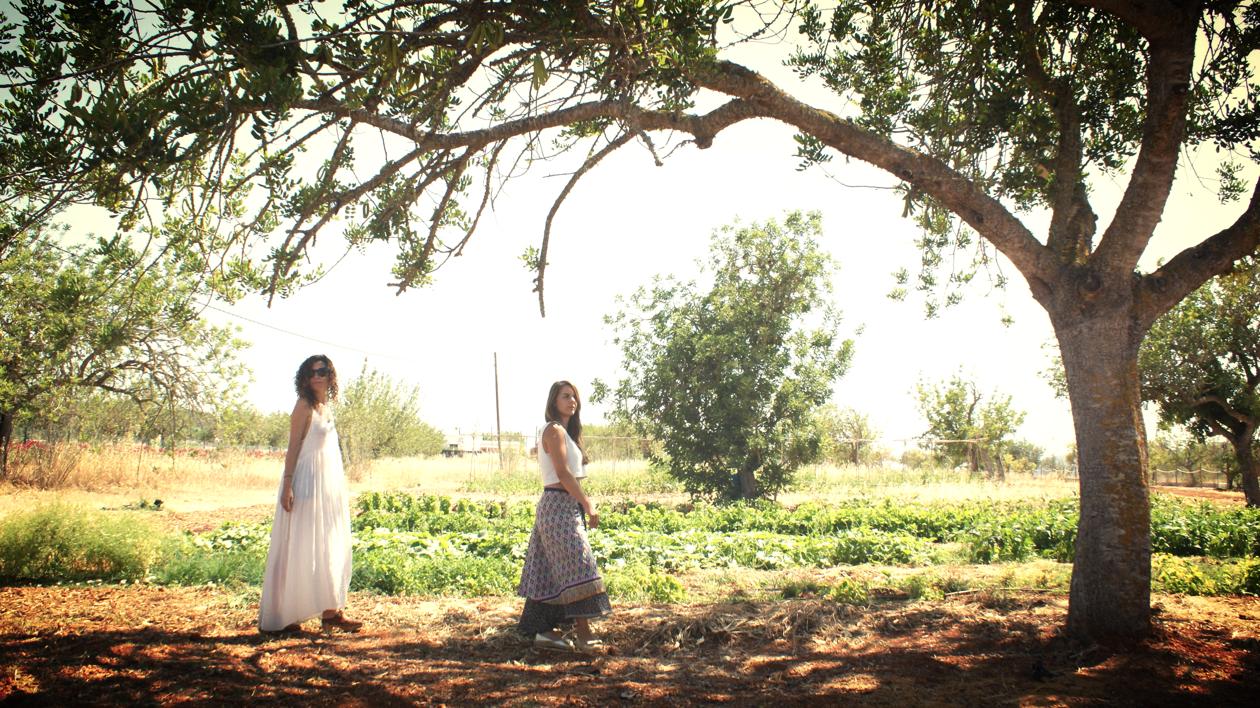 Laura & Carmen, IbizaFoodLovers founders at Aubergine's orchard