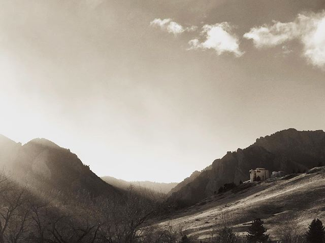 Misty Mountain Top... #NCAR #boulder #sepia  Thanks for the editing help @lauracopephoto