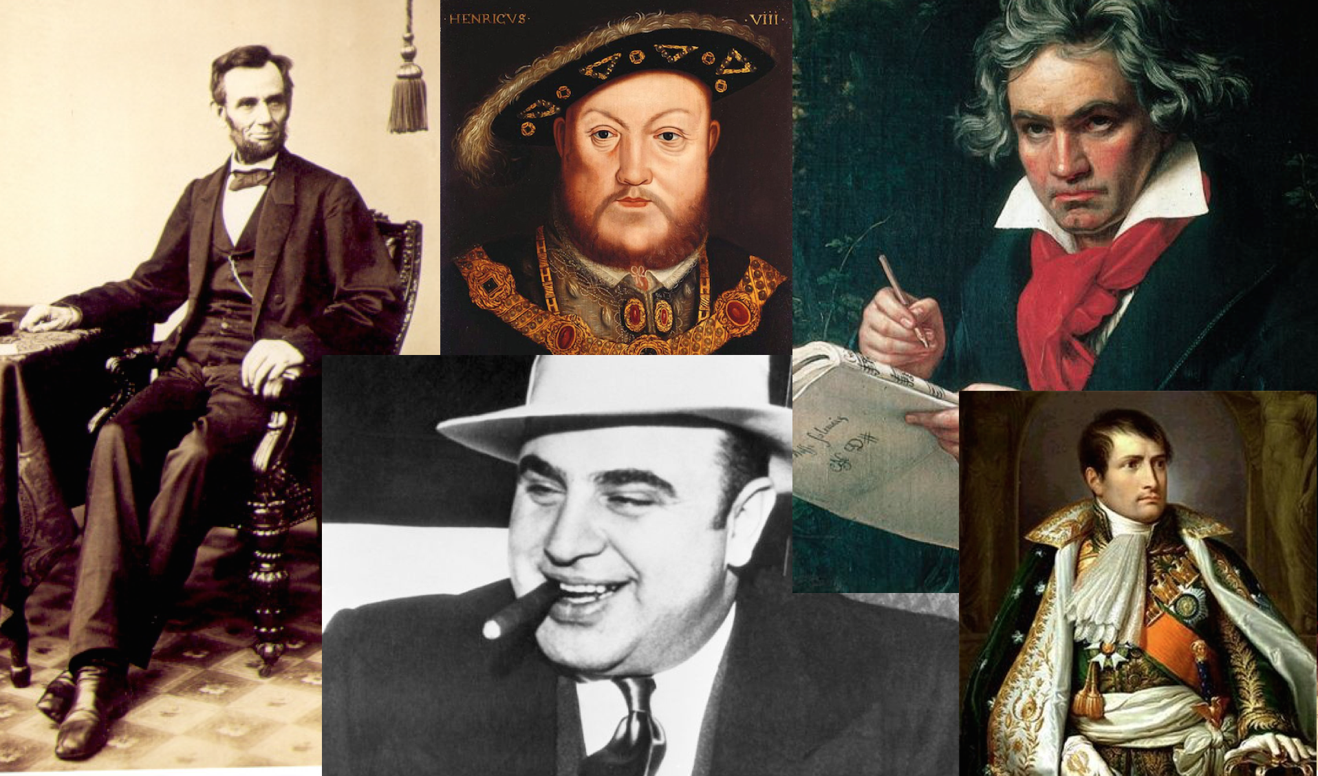 Historical figures who suffered from syphilis (clockwise from left to right): Abraham Lincoln, King Henry VIII, Ludwig van Beethoven, Napoleon Bonaparte and Al Capone