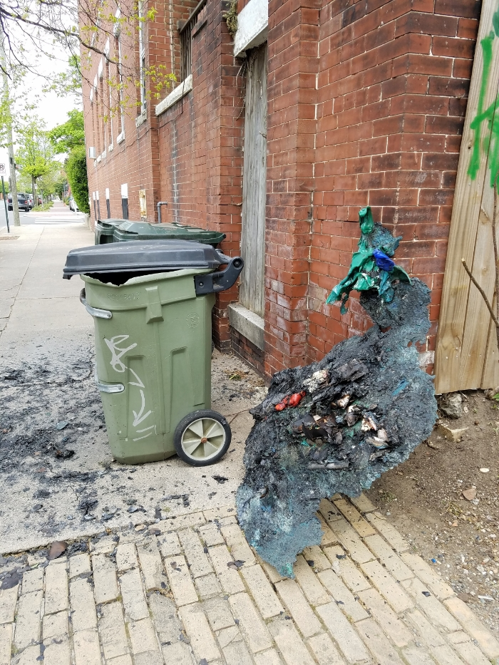 The aftermath of a recycle bin fire. I didn't start the fire.