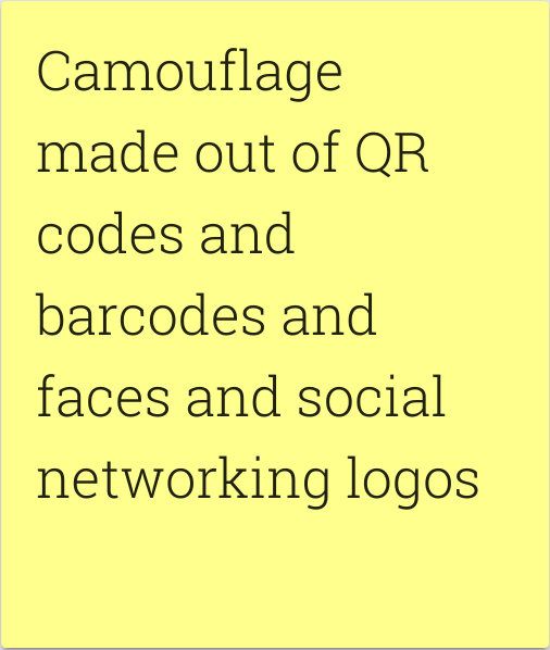 Camouflage made out of QR codes and barcodes and faces and social networking logos.