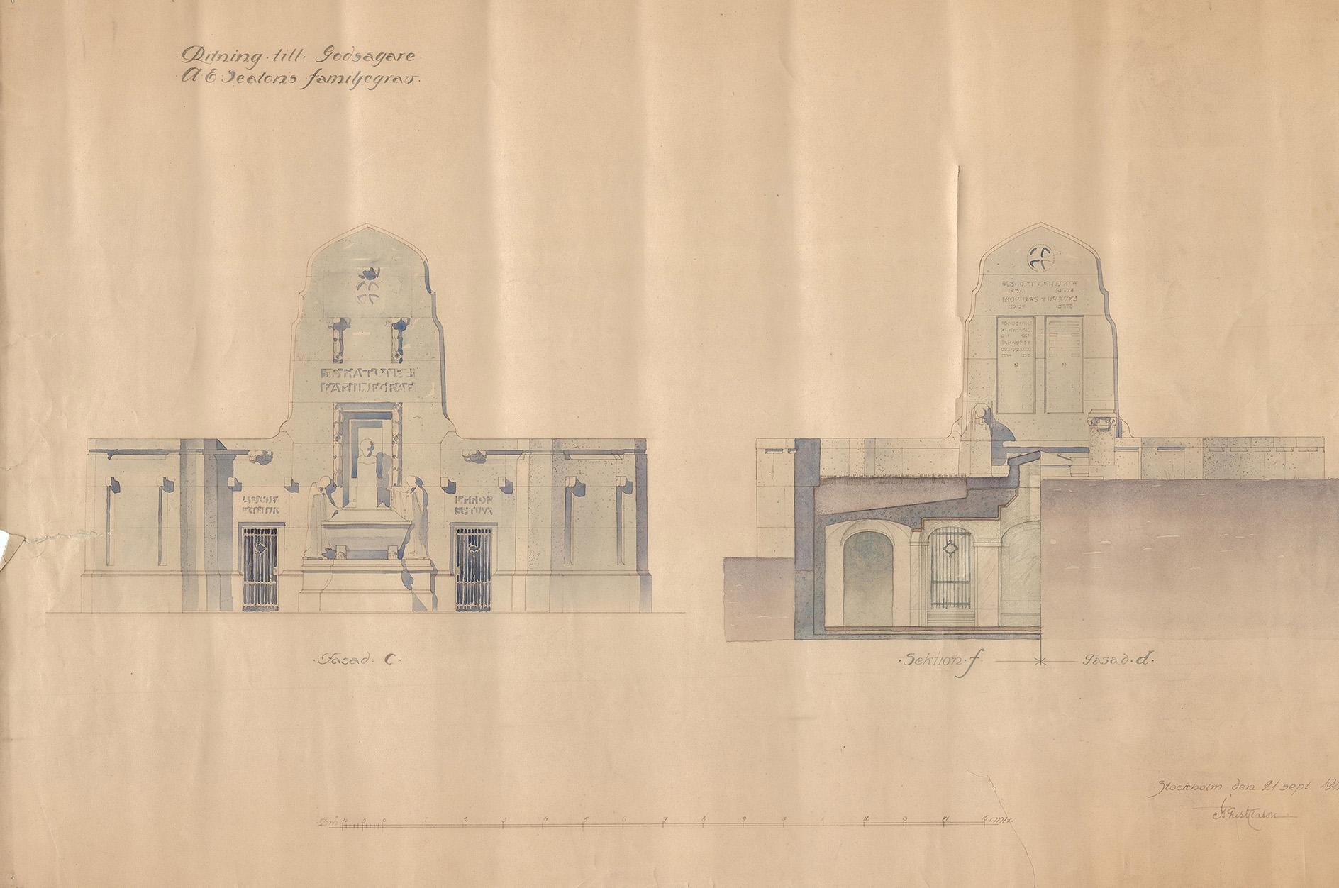 Ritning över fasad samt sektion