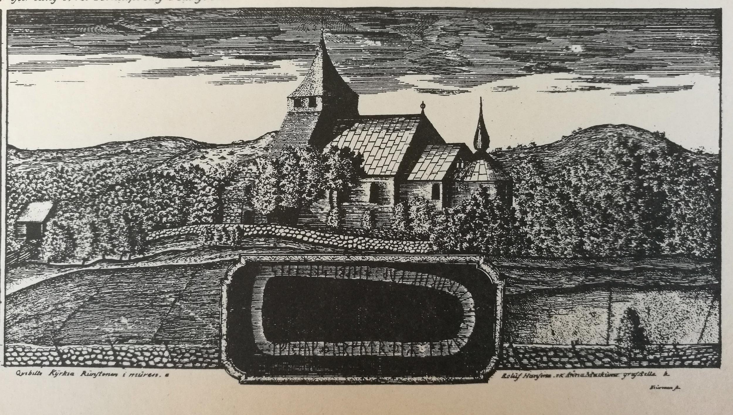 Kvibille kyrka 1735 efter J Richardsons kopparstick. Runstenen i förgrunden.