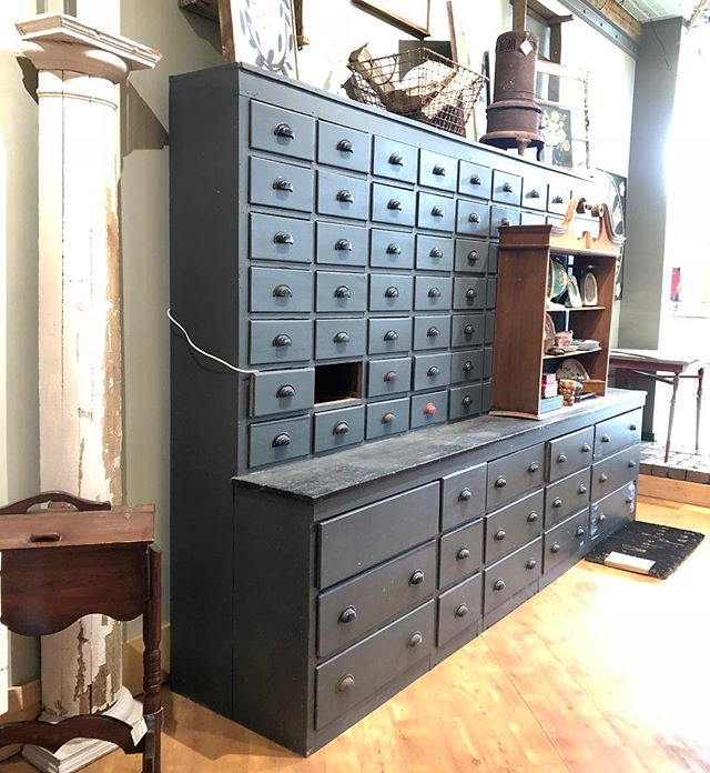 This guy finally has a price tag!  It's spring cleaning at our @southdalecenter location and that means fixtures on sale!! Love this antique hardware cabinet with endless drawers... nearly 10'L and ready for whatever you need to store! #hardwarecabinet #vintagehardware #antiquehardware #mantique #crafts #drawers #storage #industrialvintage