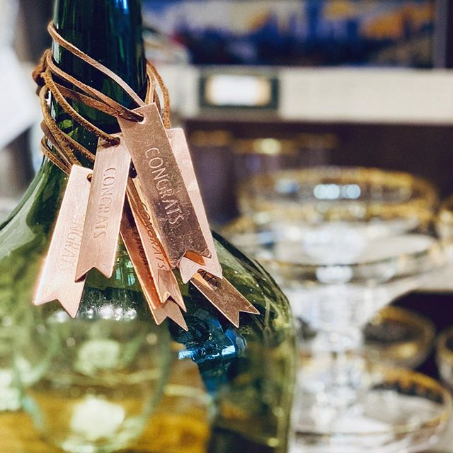 Make an easy gift out of that bottle with our little brass tags!  Available in: Congrats, Cheers, Drink Me, Thanks, Merci, and Celebrate 🎉 #brasstag #bottleofwine #grads #housewarminggift @ridgedalecenter