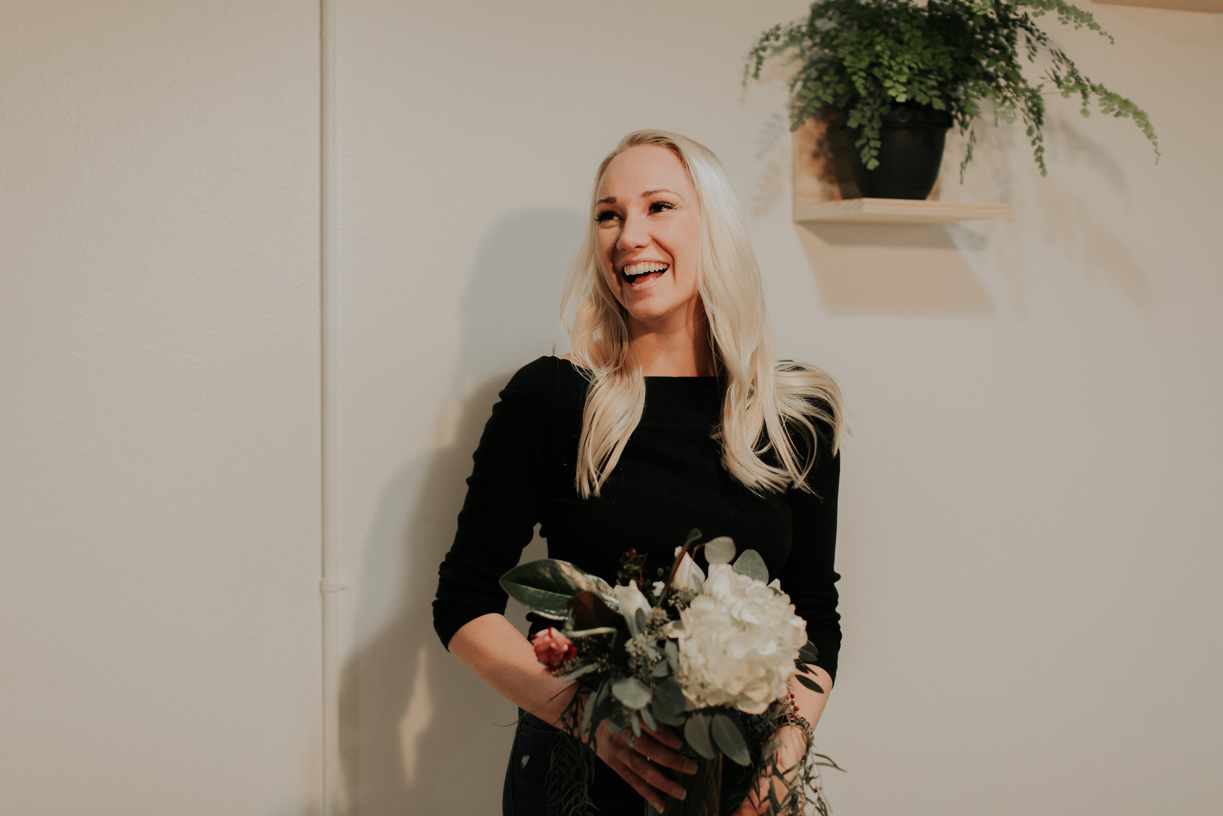 Christy Tehven in her new floral studio location in downtown Fargo. Photo by Two Pines Photography.