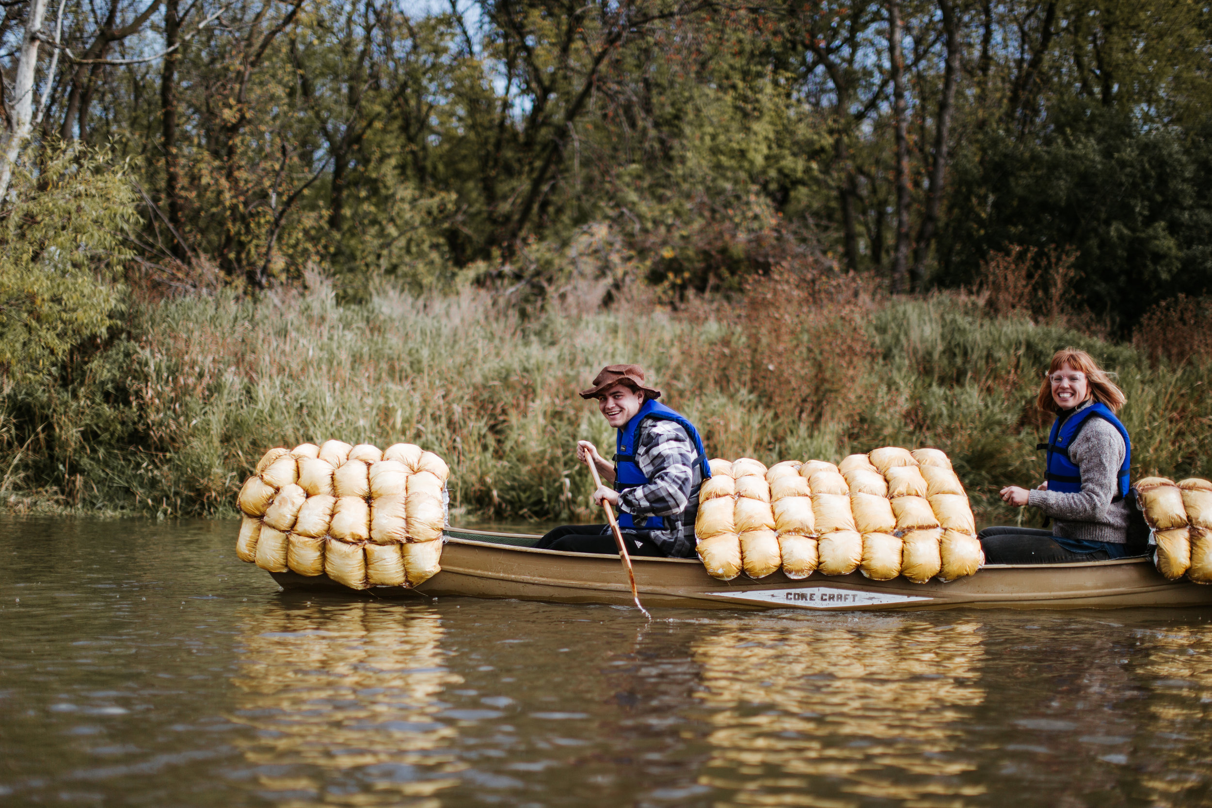 Corn cob commissioned by artist, Olivia Bain (in canoe). Photos by Friesen Photography.