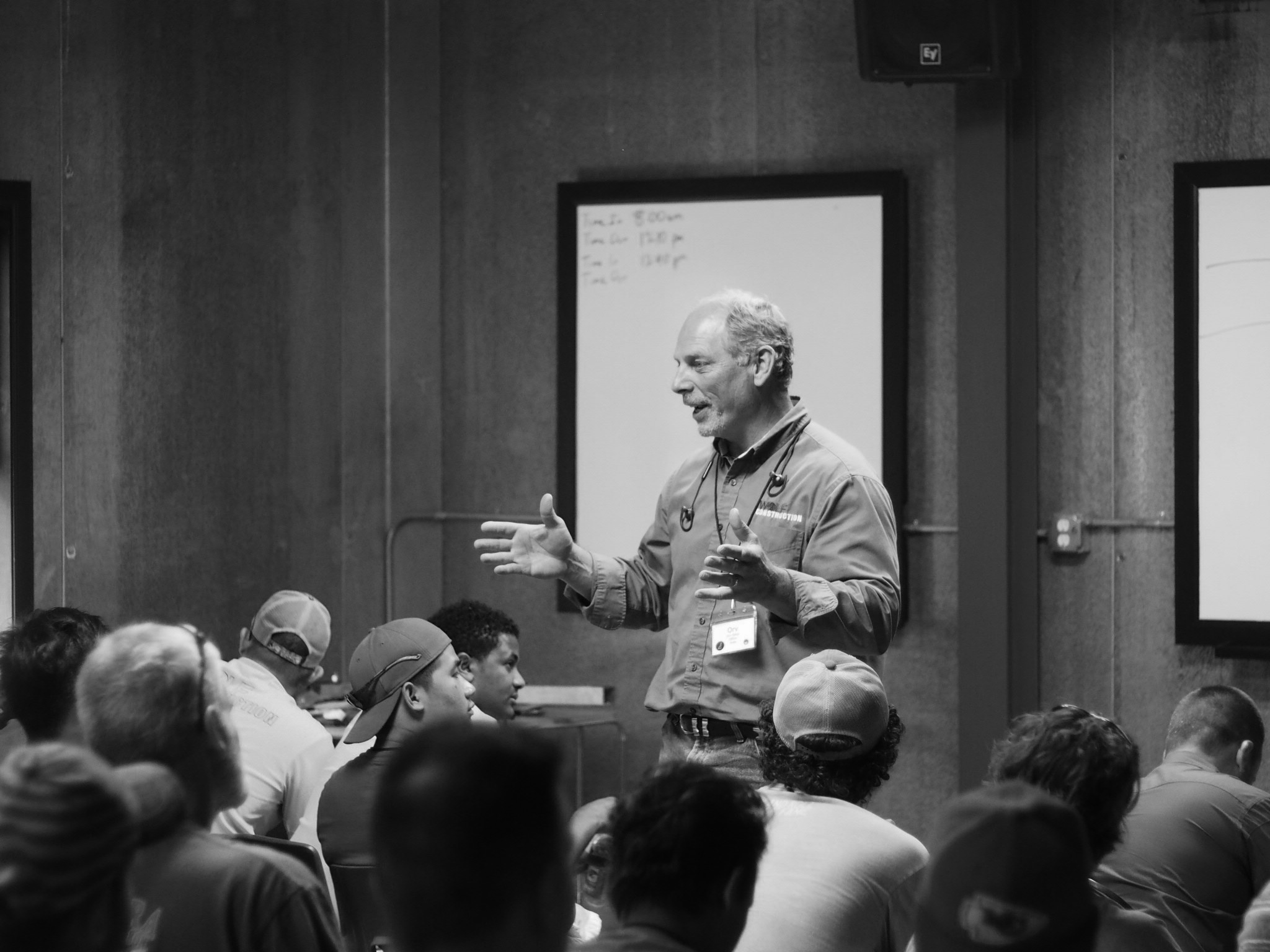Orv Otten, Dir of Field Personnel, teaching at one of the all-company Bedrock Meetings.
