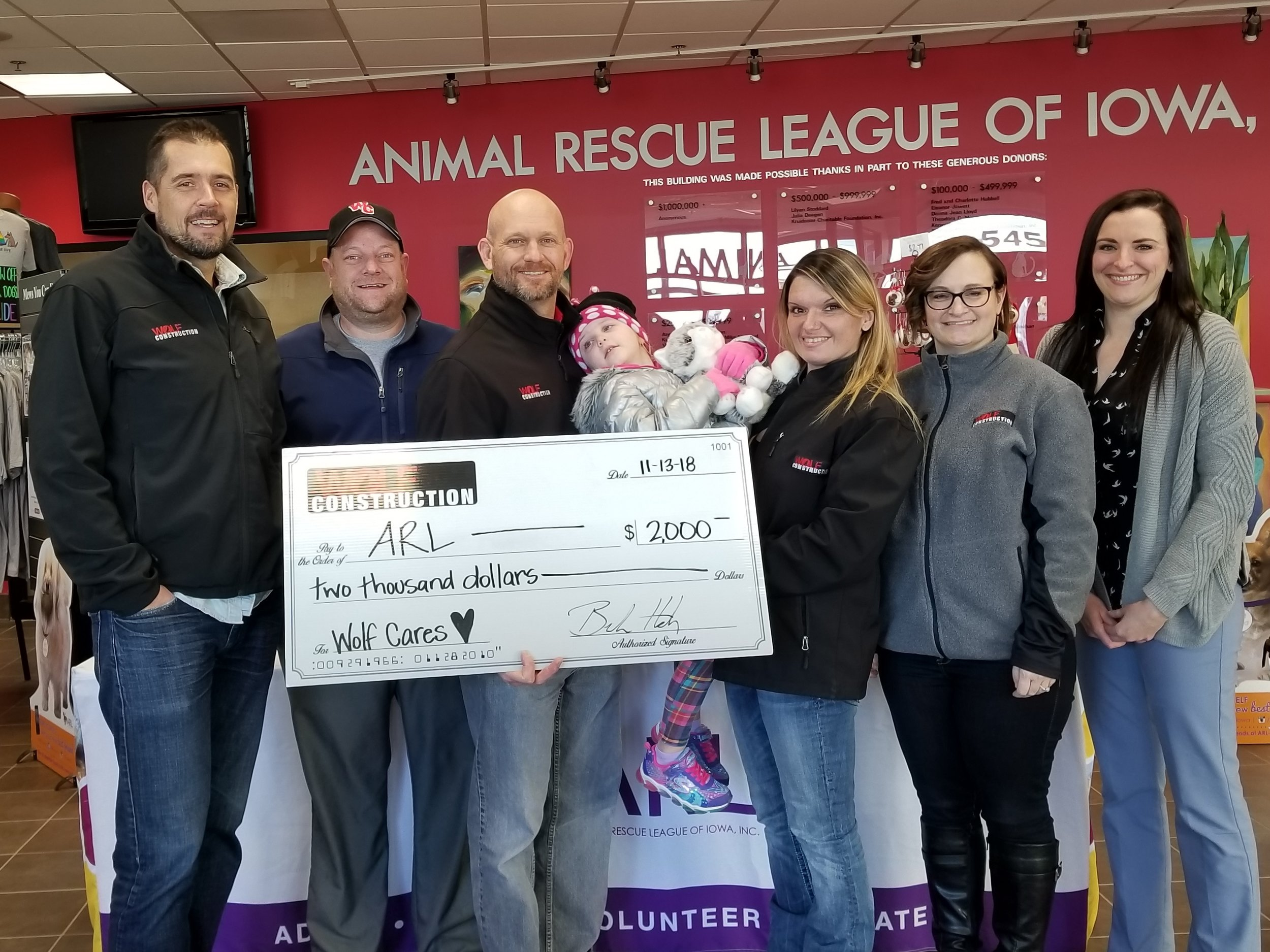 Animal Rescue League of Iowa - Wolf Construction is proud to again donate to the Animal Rescue League of Iowa. The ARL is Iowa's largest nonprofit animal shelter, caring for thousands of pets each year. They specialize in adoption, humane education, pet behavior training, spay/neuter, animal cruelty intervention and more.Find out how you can be involved by visiting their website:Animal Rescue League of Iowa, Inc.