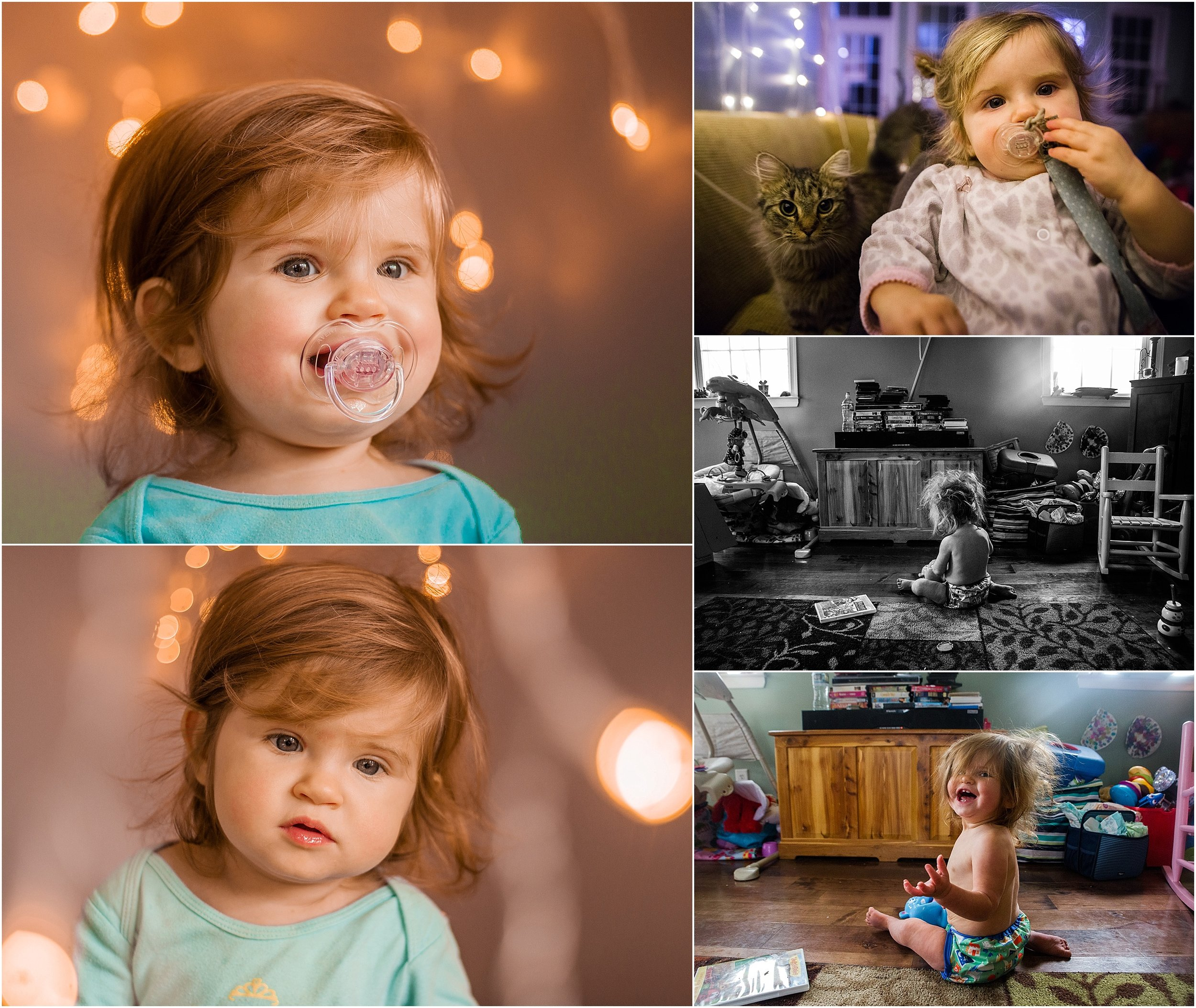 Holli Pool Photography, Christmas lights, baby girl, messy hair