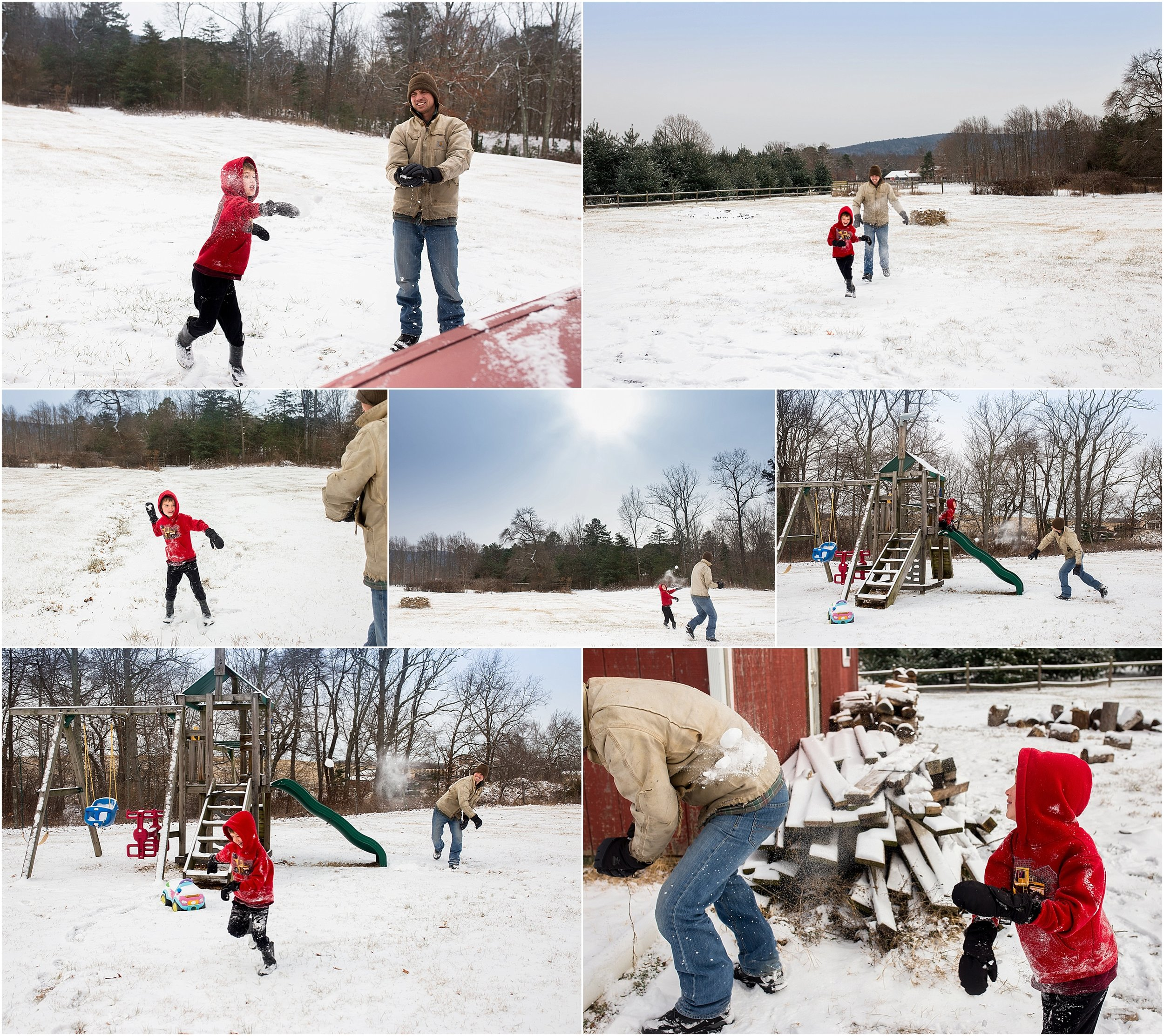snowball fight, father and son, daddy, Holli Pool Photography, Stuarts Draft, Virginia photographer