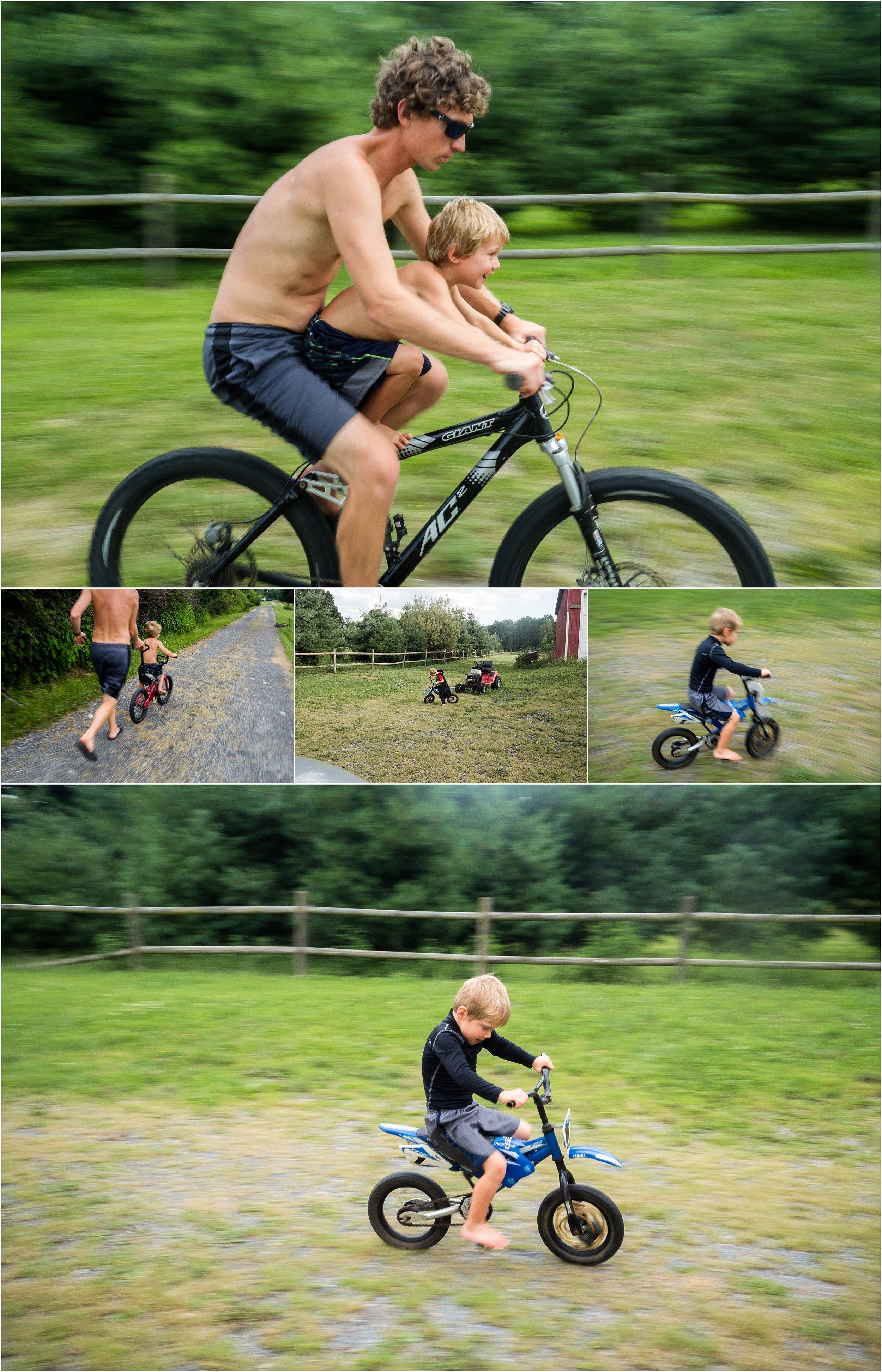 boy riding bike with father