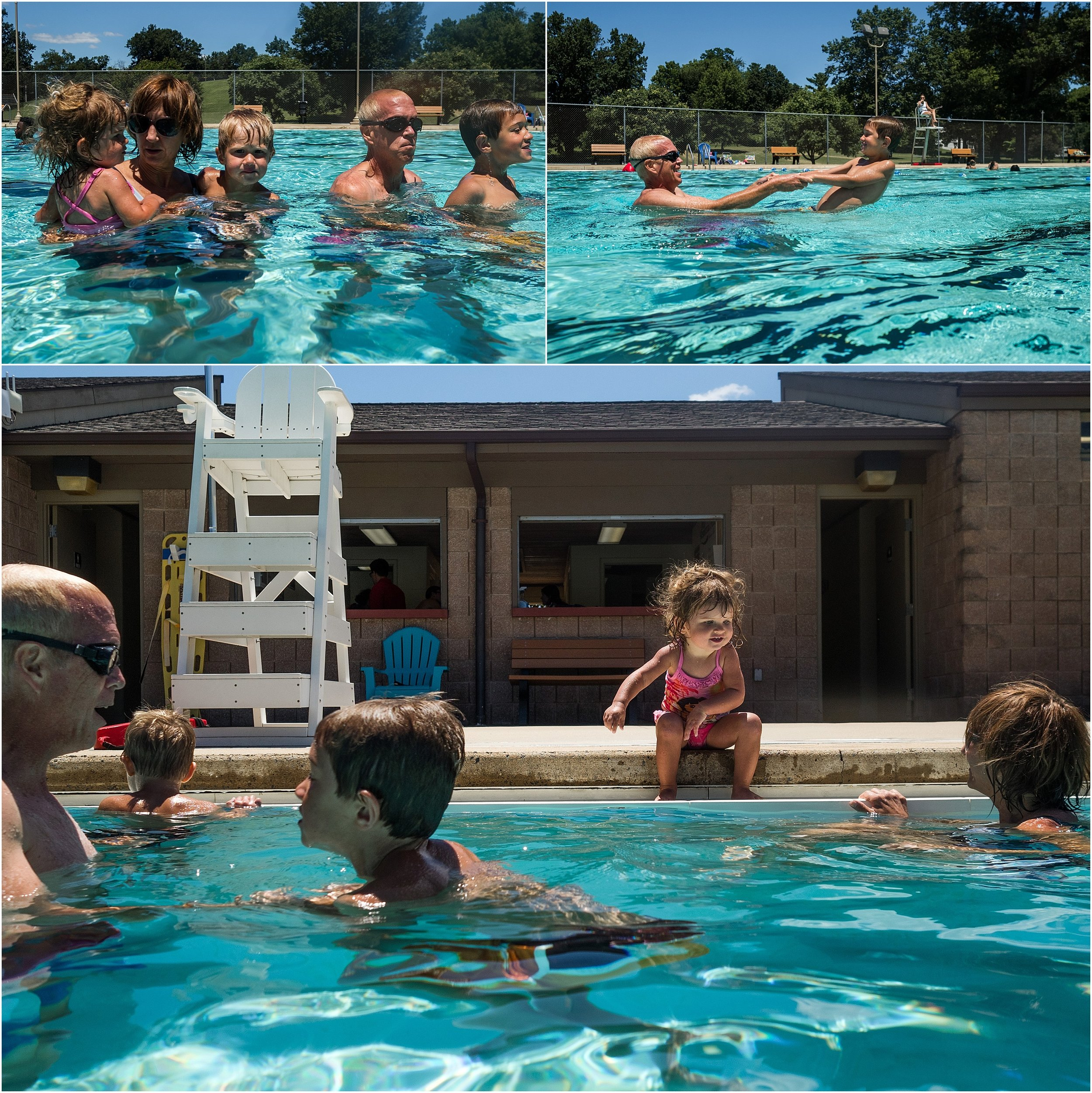 swimming pool with family, grandparents and kids