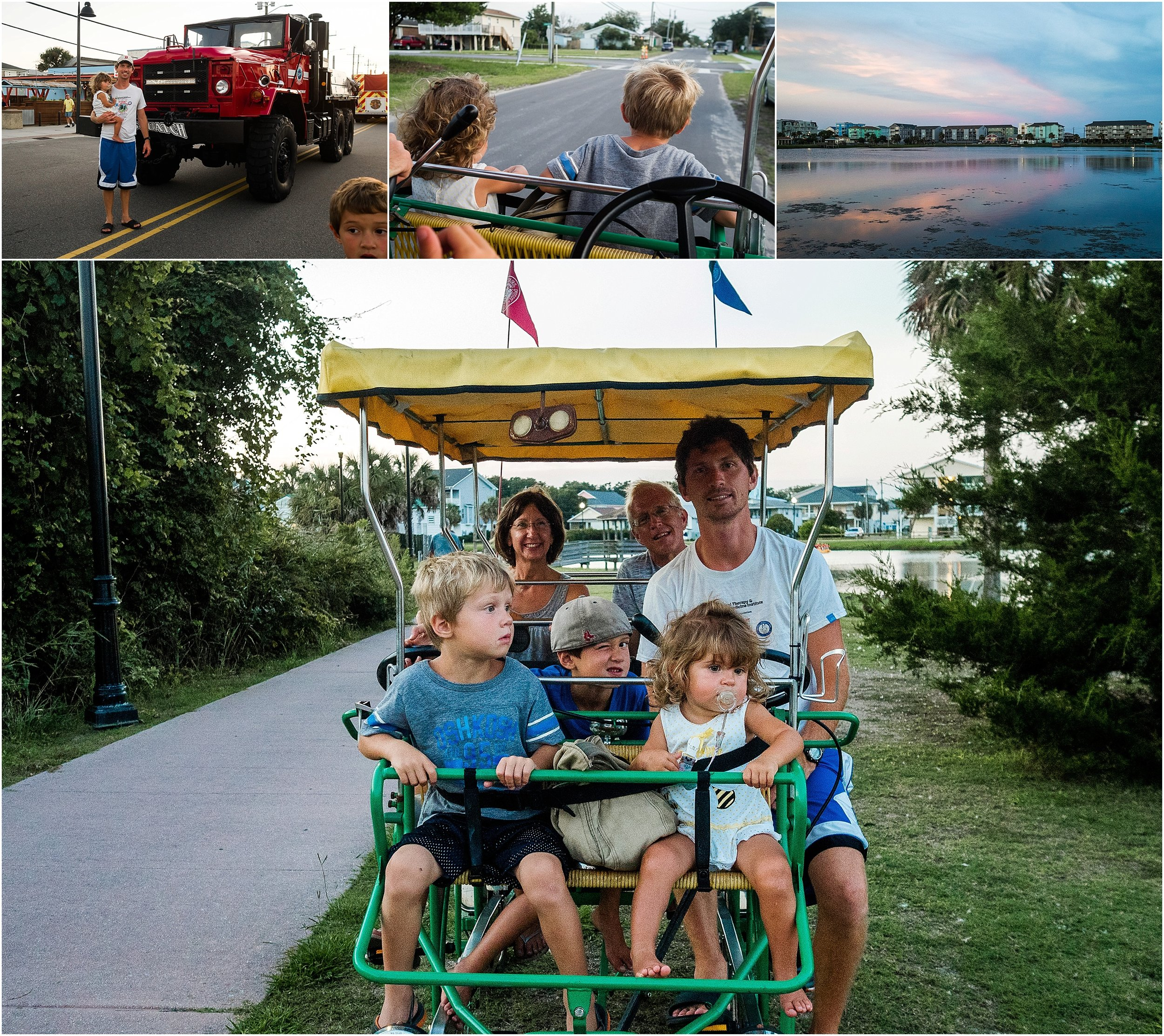 family on vacation riding surrey bike Carolina Kure Beach